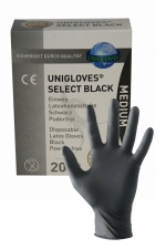 20 gants en latex jetables - Mister B - Pack de 20 gants chirurgicaux ambidextre en latex noir, taille small, medium ou large, par Mister B.