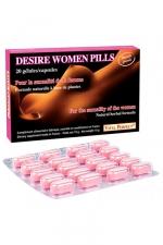 Desire Women pills x 20 - nouvelle formule : Pour stimuler le désir et exalter le plaisir chez la femme. Formule naturelle de nouvelle génération.