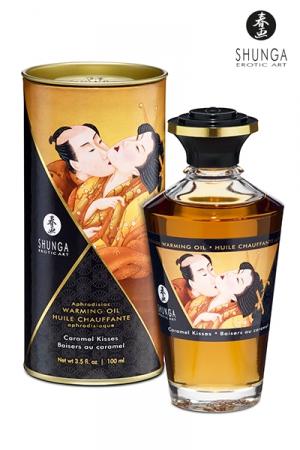 Huile chauffante - Baisers au caramel - Huile aphrodisiaque comestible et chauffante, saveur Baisers au caramel, activée par la chaleur de la peau ou les baisers, by Shunga.