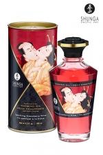 Huile chauffante - Vin pétillant fraise - Huile aphrodisiaque comestible et chauffante, saveur Vin pétillant fraise, activée par la chaleur de la peau ou les baisers, by Shunga.