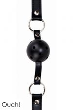 Gag Ball noir - Ouch!  - Ball Gag classique en cuir, métal et balle en ABS, coloris noir, marque Ouch!