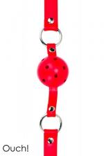 Gag Ball rouge - Ouch!  - Ball Gag classique en cuir, métal et balle en ABS, coloris rouge, marque Ouch!