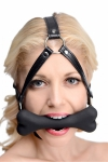 Baillon os et harnais de tête - Un harnais de tête en cuir et son bâillon en forme d'os en silicone premium, idéal pour jouer votre rôle de chiot.