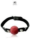 Gag Ball silicone - large - B�illon cuir et silicone haute qualit�, avec balle amovible de grande taille  de 5cm, par Spartacus.