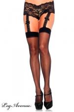 Bas à jarretelles et shorty dentelle - Bas voile sexy, attachés à un élégant shorty dentelle par des jarretelles larges décorées de noeuds satin.