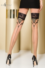 Bas autofixants ST109 Beige - Bas couture en Lycra, soulignés d'un motif fantaisie enrichi d'un fil Lurex doré.