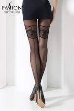Collant TI026 Noir - Collant fantaisie noir 20 deniers, orné de motifs et d'une couture faits avec un fil guipé.