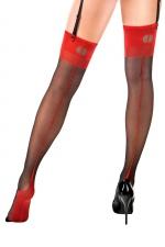 Bas couture Carmen  noir et rouge - Anne d'Alès - Bas nylon sexy effet rétro avec coutures à porter avec des jarretelles, une création Anne d'Ales.