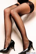 Bas autofixants Camilla Noir - Anne d'Alès - Sublimez vos jambes avec les bas en fine résille Camilla, des bas noirs autofixants créés par Anne d'Alès.
