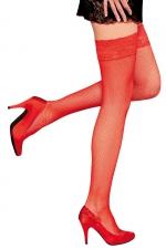 Bas autofixants Camilla Rouge - Anne d'Alès - Sublimez vos jambes avec les bas en fine résille Camilla, des bas rouges autofixants créés par Anne d'Alès.