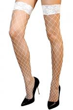 Bas autofixants Erica Blanc - Anne d'Alès : Mettez en scène la beauté de vos jambes avec les bas Erica en filet blanc, des bas autofixants créés par Anne d'Alès.