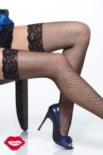 Bas résille Nice - Bas résille à jarretière en dentelle, gainez vos jambes d'un quadrillage très glamour.