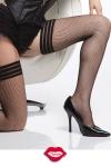 Bas résille Nice Strips - Bas résille à l'allure très contemporaine avec sa jarretière élastique à rayures, simple et féminine.
