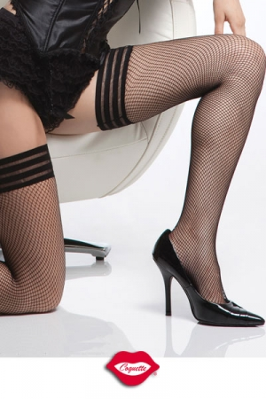 Bas résille Nice Strips : Bas résille à l'allure très contemporaine avec sa jarretière élastique à rayures, simple et féminine.