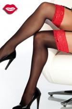 Bas dentelle Vamp - Bas noirs avec une jarretière dentelle d'un rouge éclatant, un contraste plein de charme pour vos jambes.