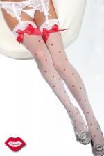 Bas Valentine : Bas sexy d'Amoureuse, parsemé de petits coeurs tendres et décorés d'un noeud satin sur la jarretière de dentelle.