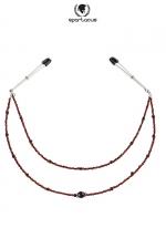 Collier de seins Perles rouge - 2 rangées : Deux rivières de perles fantaisie pour parer vos seins.