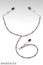 Y-Style - Perles pourpres - Collier en perles à fixer sur les seins et le clitoris par des pinces ajustables.