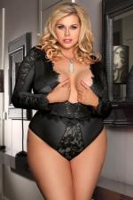 Body noir manches longues - grande taille - Body sensuel grande taille, en maille extensible soulignée de dentelle.