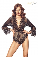 Body Celestia dentelle noir - Anaïs - Magnifique body en dentelle douce et raffinée, une lingerie luxe exclusive.