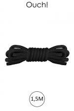 Mini corde de bondage 1,5m noire - Ouch - Corde douce en nylon noir, longueur 1,5m , pour bien débuter dans l'art du Shibari japonais.