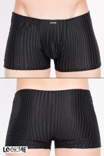 Boxer Wellness - Boxer noir moulant rayé de lignes jersey transparentes, juste ce qu'il faut de sensualité.