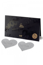 Bijoux de seins Flash Coeur Argent : Avec ces décorations permettant de cacher les mamelons, osez laisser le soutien-gorge au placard !