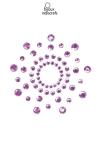 Bijoux de seins Mimi violets - Bijoux de corps en strass violets à poser en corole autour du mamelon pour un effet sexy garant