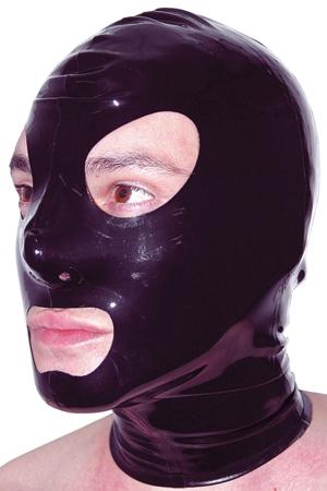 Cagoule latex : Cagoule latex haute qualité, ouvertures pour les yeux et la bouche et orifices de respiration aux narines.