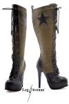 Bottes Army - Bottes lacées faux cuir style Army, talons aiguilles de 14 cm, compensé de 3 cm.