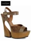 Sandales compens�es Swan - Sandales compens�es au look nature 70's en cuir et su�dine, talons de 15 cm.