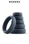 Set de 6 anneaux de pénis larges - Boners - 6 cockrings larges en silicone doux et extensible de 26 à 57 mm de diamètre, pour les débutants comme les experts.
