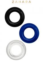 Set 3 Cockrings multicolore - Zahara - Set de 3 anneaux péniens extensibles  noir, bleu et cristal, en TPR permettant de prolonger et renforcer l'érection.