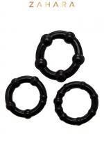 Set 3 Cockrings noir - Zahara - Ensemble de 3 anneaux pénien, diamètre 3 à 3,5 cm extensible,  noir, en TPR permettant de prolonger et renforcer l'érection.