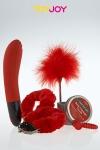 Coffret JFY luxe box No 4  - Coffret coquin Just For You No 4 avec 5 articles érotiques sur le thème du rouge.