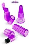 kit débutants sextoys - Coffret plaisir composé d'un mini vibromasseur et de 4 gaines en jelly, idéal pour découvrir les jouets intimes.