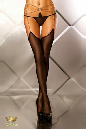 Glamourous - Bas porte-jarretelles bijou - Bas en fine résille avec porte-jarretelles bijou chaines dorées, et un pendentif pompon coquin.