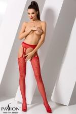 Collants ouverts S002 - Rouge - Collants ouverts en résille rouge fantaisie et fausses jarretelles.