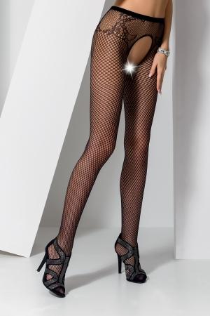 Collants ouverts S019 - Noir - Collants ouverts en résille noire avec un dessin de culotte tanga charmant.