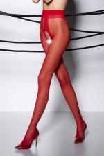 Collants ouverts TI007 - rouge - Collants ouverts en voile rouge 20 deniers.