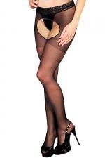 Collant ouvert Lola - Anne d'Alès : Collant noir avec ceinture en dentelle, dévoilant votre intimité très sensuellement.