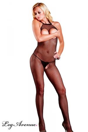Combinaison résille WOP : Combinaison résille ouverte sur les seins et sur le sexe. Une lingerie plus que sexy !