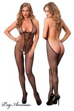 Combinaison Bare Bottom : Combinaison résille ouverte, au décolleté vertigineux dans le dos qui descend jusque sous les fesses.