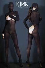 Combinaison voile Hooded Opaque : Combinaison cagoule BDSM en voile opaque, ouverte sur les seins et les fesses.