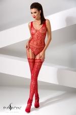 Combinaison BS051 - Rouge - Combinaison fantaisie en résille rouge, composée d'un body et de bas reliés par de fines jarretelles.