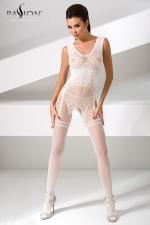 Combinaison BS052 - Blanc - Combinaison sexy en résille blanche avec un motif guêpière et string dessiné dans la maille.
