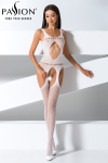 Combinaison BS057 - Blanc - Combinaison sexy blanche extensible à jarretelles.