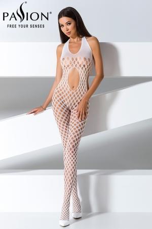 Combinaison BS065 - Blanc - Combinaison sexy à trous blanche, dos nu et extensible.