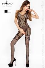 Combinaison Hip Cross Passion - Combinaison sexy en résille, décorée d'un motif lingerie aux lignes excitantes.