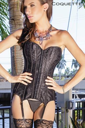 Corset Coquette - Corset en satin noir scintillant recouvert d'une fine dentelle florale qui lui donne un aspect sophistiqué et élégant.